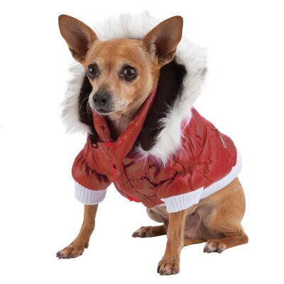 Pet Life Metallic Dog Parka with Removable Hood in Red