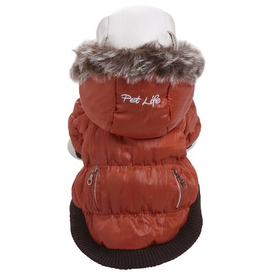 Pet Life Metallic Dog Parka with Removable Hood in Orange