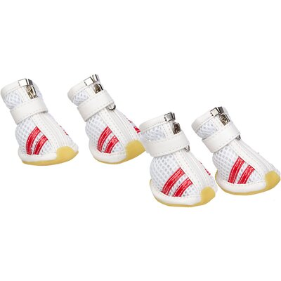 Pet Life Mesh Spring Dog Shoes - Wider Fit in White and Red