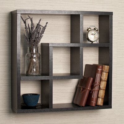DanyaB Geometric Square Wall Shelf with 5 Openings