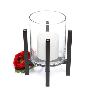 Danya B Cylinder Iron and Glass Hurricane Candle Holder