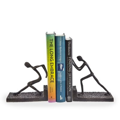 Danya B Men Pushing Metal Bookend 2-Piece Set