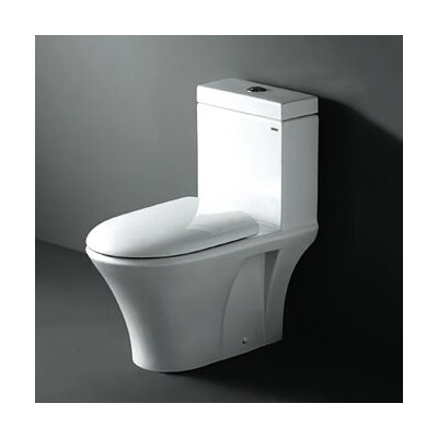 Ariel Bath Milano Contemporary Elongated One Piece Toilet with Dual Flush in White