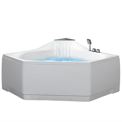 "59"" x 59"" Corner Whirlpool Tub with Waterfall Faucet Home"