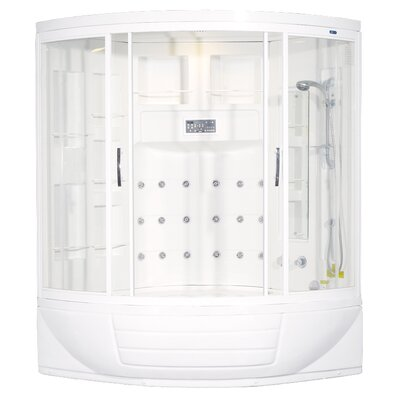 "Ariel Bath Sliding Door 87"" x 56"" x 56"" Steam Sauna Shower with Bath Tub"