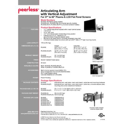 "Peerless Articulating Arm with Vertical Adjustment for Flat Panel Screens (Mount Only) (37"" - 60"" Screens)"
