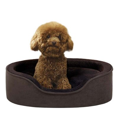 Soft Touch Faux Suede Oval Cuddler Dog Bed in Brown