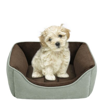 Faux Suede Reversible Rectangular Cuddler Bolster Dog Bed