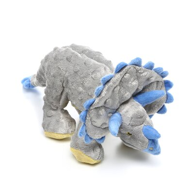 Go Dog Dinos Grey Frills Triceratops Dog Toy with Chew Guard