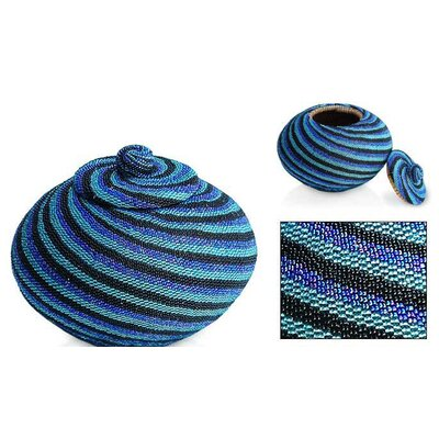 Vortex Diamond Beaded Basket in Blue
