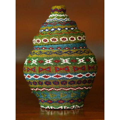 'Jade Ginger Jar' Beaded Basket