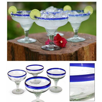 Novica 'Happy Hour' Margarita Glass (Set of 4)