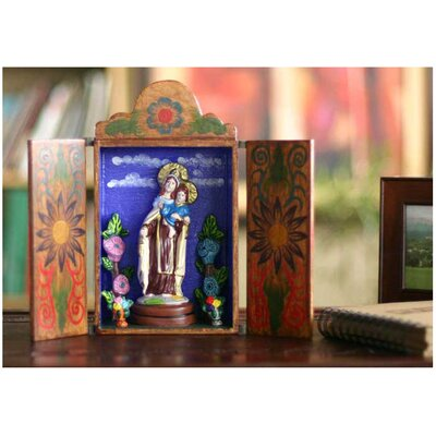 Novica 'Our Lady of Mount Carmel' Wood retable
