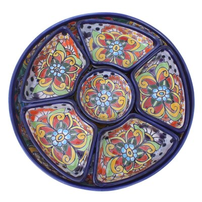 Novica Castillo Family Round Festive Feast Ceramic Appetizer Set