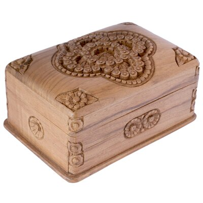 Novica M Ayub Artisan Treasured Roses Walnut Wood Jewelry Box