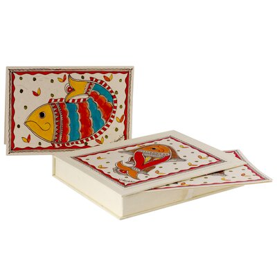 Novica The Vidushini Artisan Fish Of India Madhubani Greeting Card