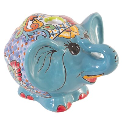Novica Castillo Family Artisan Amigo Elephant Ceramic Tealight Holder