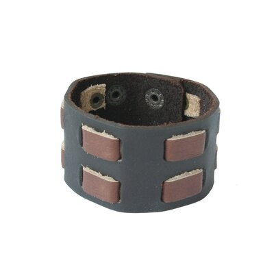 The Nueng Pakdee Artisan Leather Double Brown Contrasts Wristband Bracelet