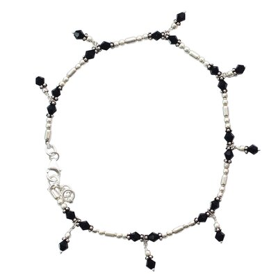 Novica The Neeru Goel Artisan Jaipur Night Onyx Anklet