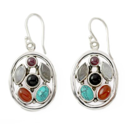 Novica The Neeru Goel Artisan Garnet and Moonstone Bouquet Dangle Earrings