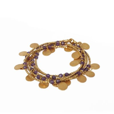 The Khun Boom Artisan Gold Pated Amethyst Golden Suns Wrap Bracelet