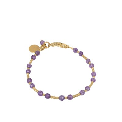 Novica The Khun Boom Artisan Gold Plated Amethyst Divine Deva Beaded Bracelet