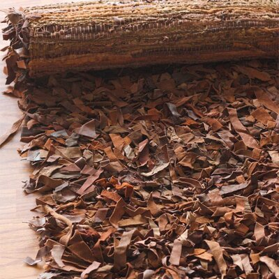 nuLOOM Leather Shag Dark Brown Rug