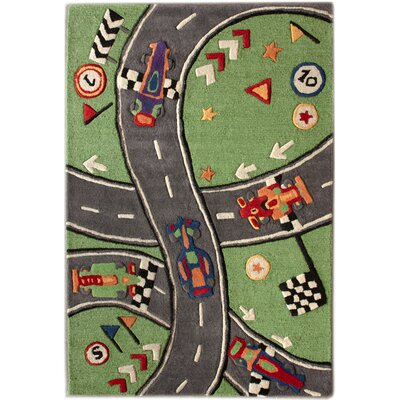 nuLOOM KinderLOOM Race Track Green Kids Rug