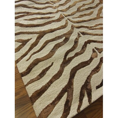 nuLOOM Safari Zebra Print/Faux Silk Highlights Brown Rug