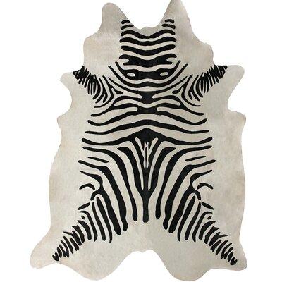 nuLOOM Zebra Print Cowhide Black/White Rug