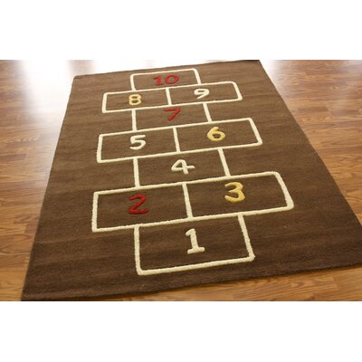 nuLOOM KinderLOOM Hopscotch Brown Kids Rug