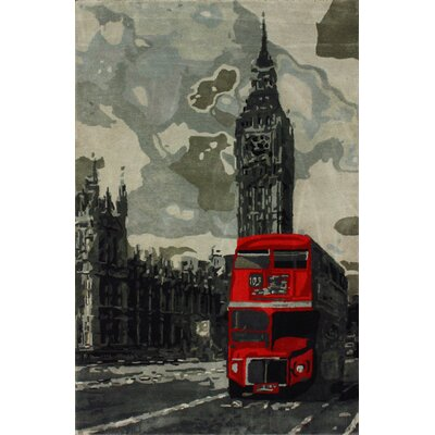 nuLOOM Sovereign Grey London Bus Novelty Rug