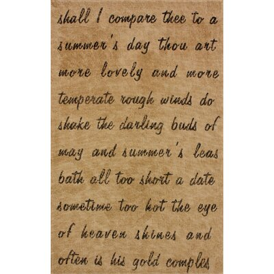 nuLOOM Natura Natural Script Poem Novelty Rug