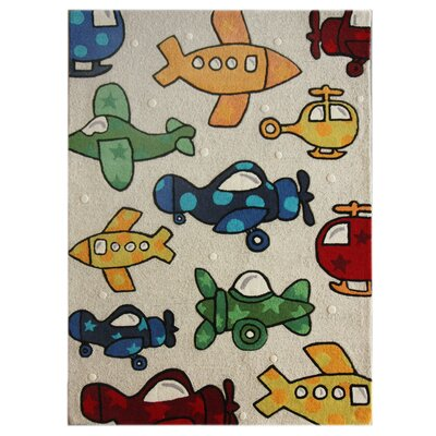 nuLOOM Kinder Natural Planes Kids Rug