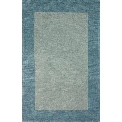 Fancy Ice Blue Solid Trim Rug