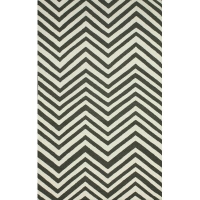 Flatweave Grey Retro Chevron Rug