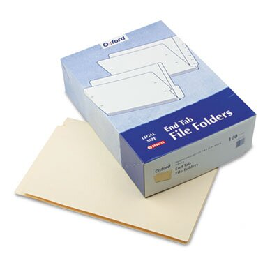 "Pendaflex® End Tab Folders, Straight Cut, Two Ply, 9 1/2"" Front, Legal, Manila, 100/Box"