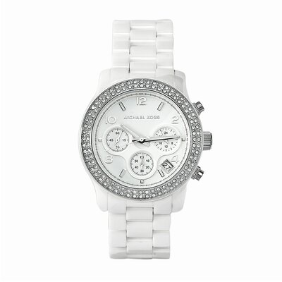 Michael Kors Women's Classic White Ceramic Watch with Crystal Chronograph Dial