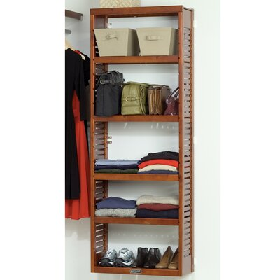 "John Louis Inc. 12"" Deep Stand Alone Shelf Tower Set in Red Mahogany"