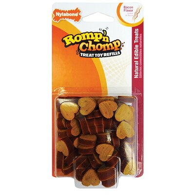 Nylabone Romp-N-Chomp Heart Bits Treat Refill Bacon Dog Toy