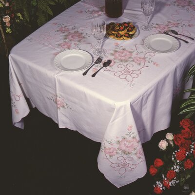 Violet Linen Orchid Floral Embroidered Design Tablecloth