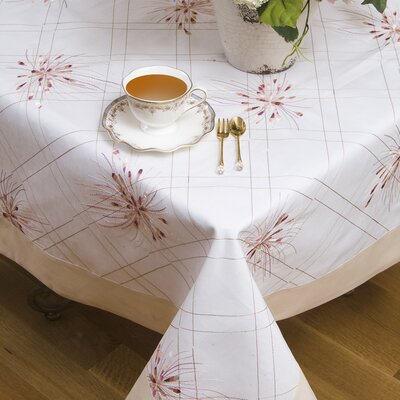 Violet Linen Emerald Embroidered Design Tablecloth