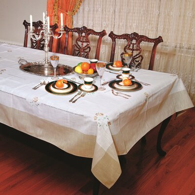Violet Linen Espirit Embroidered Floral Design Tablecloth