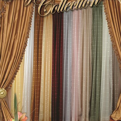 Violet Linen Royal Plaid  Sheer Curtain Single Panel