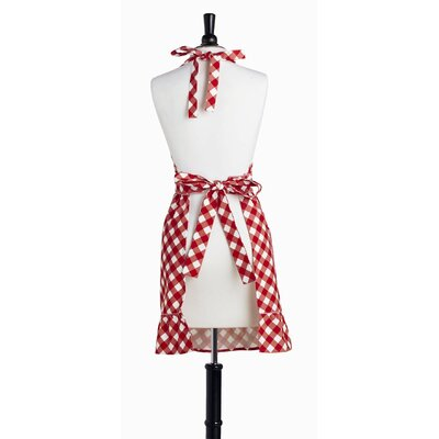 Violet Linen Giant Gingham Red Bib Courtney Apron