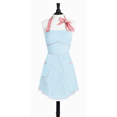 Yarn-Dye Blue and White Gingham Bib Sabrina Apron