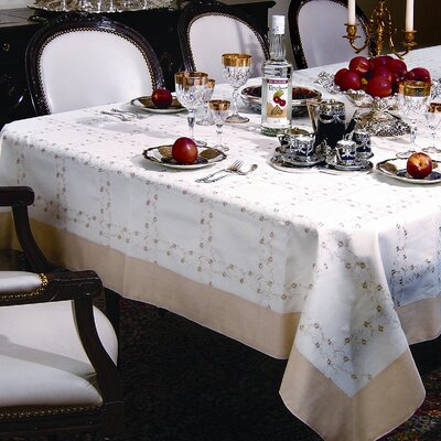 Ribbon Rose Embroidered Design Tablecloth