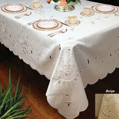 Violet Linen Rivierra Embroidered Design Tablecloth