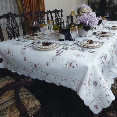 Violet Linen Renaissance Embroidered Design Tablecloth