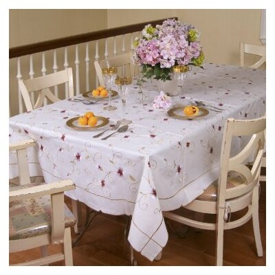 Violet Linen Ascott Embroidered Design Tablecloth